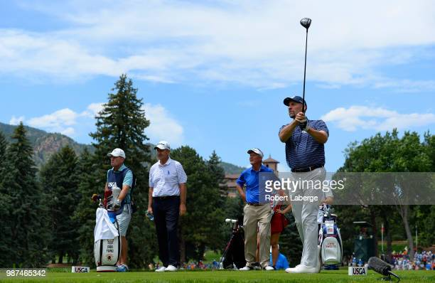 John Smoltz makes a tee shot on the fifth hole during round two of the US Senior Open Championship at The Broadmoor Golf Club on June 29 2018 in...