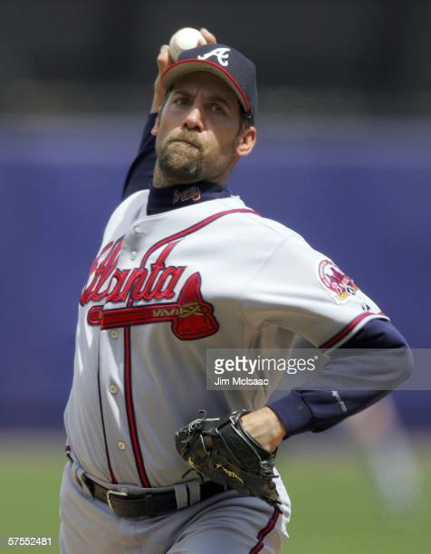 John Smoltz of the Atlanta Braves delivers a pitch against the New York Mets on May 7 2006 at Shea Stadium in the Flushing neighborhood of the Queens...