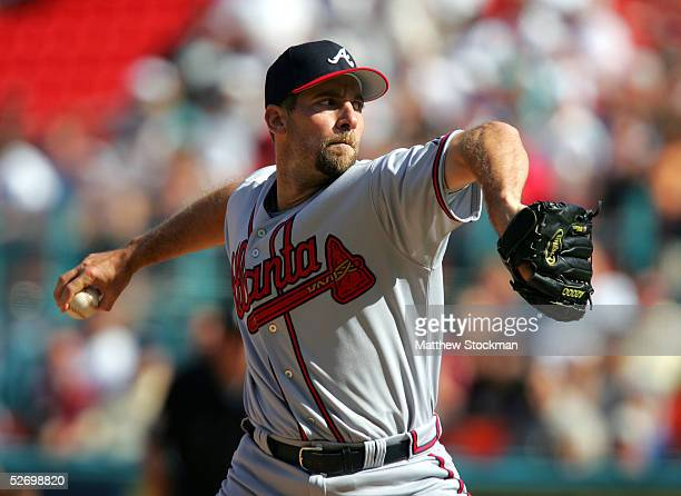 John Smoltz of the Atlanta Braves pitches against the Florida Marlins at Dolphins Stadium on April 5 2005 in Miami Florida