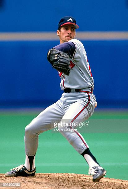 John Smoltz of the Atlanta Braves pitches during a Major League Baseball game circa 1990 Smoltz played for the Braves from 198899 and 200108