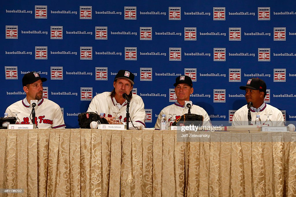 John Smoltz, Randy Johnson, Craig Biggio and Pedro Martinez address the media at the press conference for the 2015 Baseball Hall of Fame inductees January 7, 2015 in New York.
