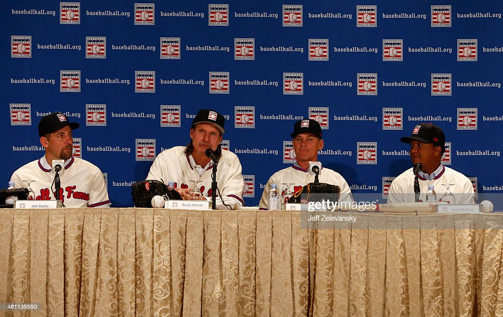John Smoltz (L), Randy Johnson (2nd, L), Craig Biggio, (2nd, R) and Pedro Martinez (R), are photographed at the press conference for 2015 Baseball Hall of Fame inductees January 7, 2015 in New York.
