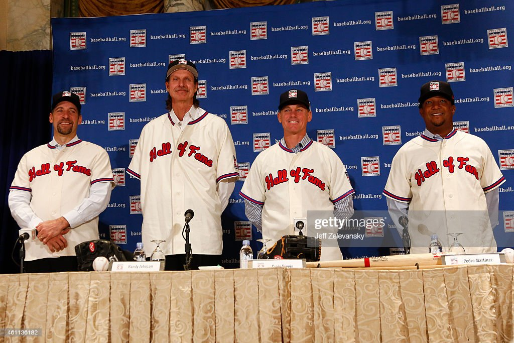 John Smoltz, Randy Johnson, Craig Biggio and Pedro Martinez are photographed at the press conference for the 2015 Baseball Hall of Fame inductees January 7, 2015 in New York.