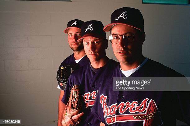 John Smoltz Tom Glavine and Greg Maddux of the Atlanta Braves pose for a portrait during Spring Training on March 20 1997