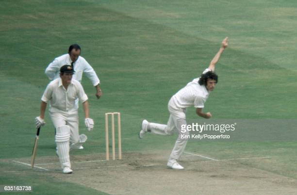 John Snow bowling for England during the 4th Test match between England and Australia at Headingley Leeds 29th July 1972 The Australian nonstriking...