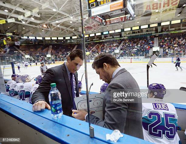 John Snowden and Anthony Noreen of the Orlando Solar Bears discuss strategy on a road trip to play the Florida Everblades at the Germain Arena on...