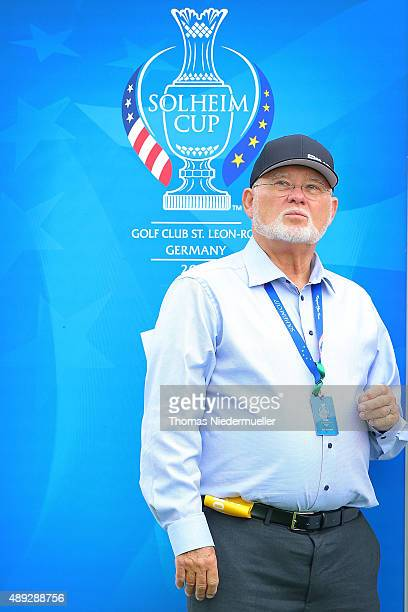 John Solheim CEO of Ping looks on at the first tee during the Sundays single matches in the 2015 Solheim Cup at St LeonRot Golf Club on September 20...