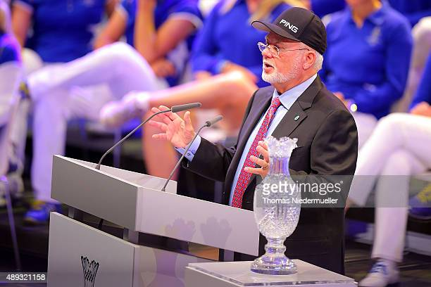 John Solheim talks during the closing ceremony at the 2015 Solheim Cup at St LeonRot Golf Club on September 20 2015 in Sankt LeonRot Germany