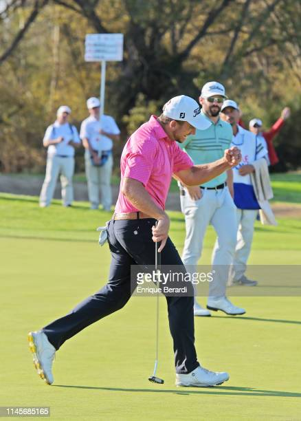 John Somers of the United States reacts to a putt for eagle on the 18th green during the final round of the PGA TOUR Latinoamérica Abierto de Chile...