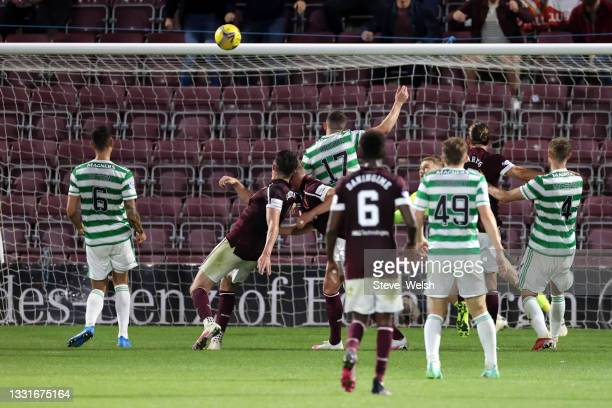 John Souttar of Heart of Midlothian scores his team's second goal during the Ladbrokes Scottish Premiership match between Heart of Midlothian and...