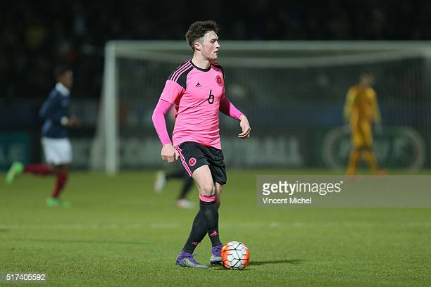 John Souttar of Scotland during the Uefa U21 European Championship qualifier between France and Scotland at Stade Jean Bouin on March 24 2016 in...