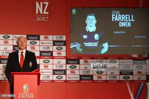 John Spencer unveils Owen Farrell as a squad member during the British and Irish Lions tour squad announcement at the Hilton London Syon Park Hotel...