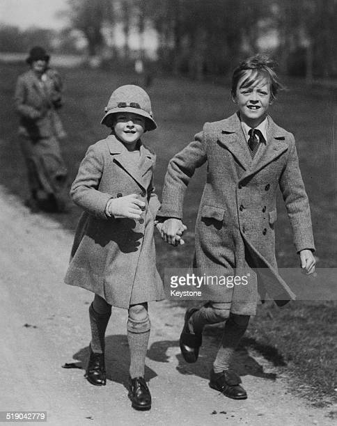 John SpencerChurchill Marquess of Blandford following a meeting of the Heythrop Hunt with his sister Lady Rosemary SpencerChurchill Blenheim...