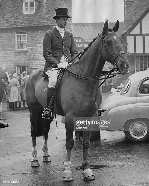 John SpencerChurchill Marquess of Blandford waiting for the move off during a meeting of the Heythrop Hunt at Northleach Gloucestershire 26th...