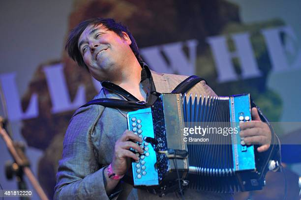 John Spiers of Bellowhead performs on stage during Day 1 of the Womad Festival at Charlton Park on July 24 2015 in Wiltshire England