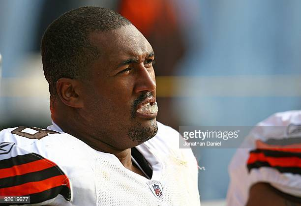 John St Clair of the Cleveland Browns sits on the bench during a game against the Chicago Bears at Soldier Field on November 1 2009 in Chicago...