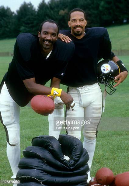 John Stallworth and Theo Bell of the Pittsburgh Steelers poses for a photo during a Pittsburgh Steelers practice circa 1980 Stallworth played for the...