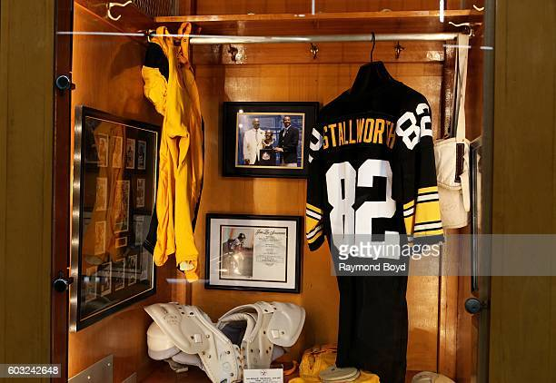 John Stallworth locker encased in the Pittsburgh Steelers 'Walk Of Fame' in the Great Hall concourse inside Heinz Field home of the Pittsburgh...