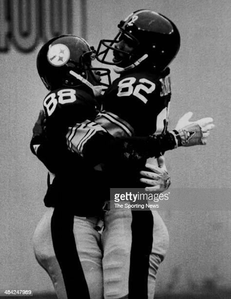 John Stallworth of the Pittsburgh Steelers celebrates with Lynn Swann circa 1970s