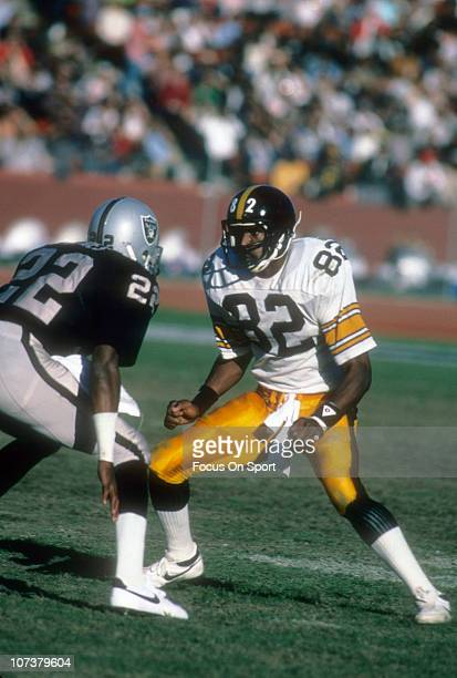 John Stallworth of the Pittsburgh Steelers is defended by Mike Haynes of the Los Angeles Raiders during an NFL football game at the Los Angeles...