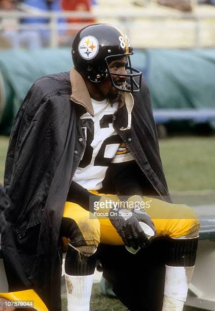 John Stallworth of the Pittsburgh Steelers looks on from the bench during an NFL football game circa 1980 Stallworth played for the Steelers from...