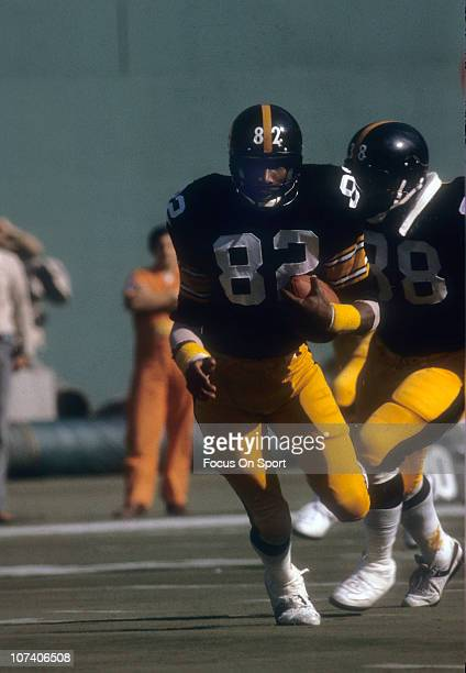 John Stallworth of the Pittsburgh Steelers runs with the ball during an NFL football game at Three Rivers Stadium circa 1980 in Pittsburgh...