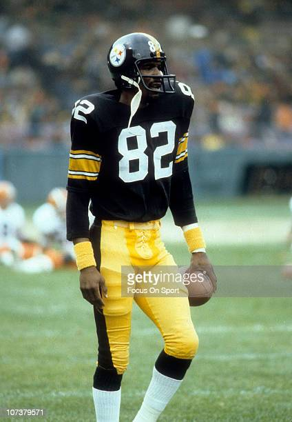 John Stallworth of the Pittsburgh Steelers warming up before an NFL football game against the Cleveland Browns at Cleveland Municipal Stadium circa...