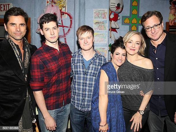 John Stamos Alex Mandell Steven Boyer Sarah Stiles Geneva Carr and Bob Saget pose backstage at the hit play 'Hand to God' on Broadway at The Booth...