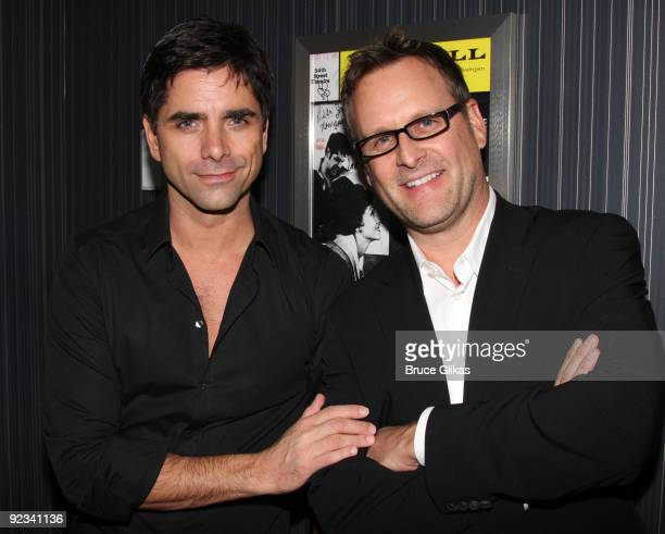 John Stamos and Dave Coulier pose backstage at the hit musical Bye Bye Birdie on Broadway at The Henry Miller Theater on October 26 2009 in New York...