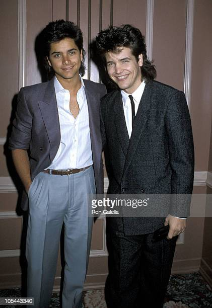 John Stamos and Michael Damian during 1985 Annual Catholic Breakfast at Beverly Hilton Hotel in Beverly Hills California United States