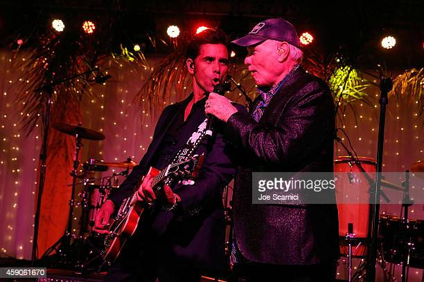 John Stamos and Mike Love perform at the Goodwill of Orange County Gala with John Stamos and The Beach Boys at Laguna Cliffs Marriott on November 15,...