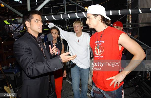 John Stamos and the Backstreet Boys during United We Stand Concert Backstage at RFK Stadium in Washington DC United States