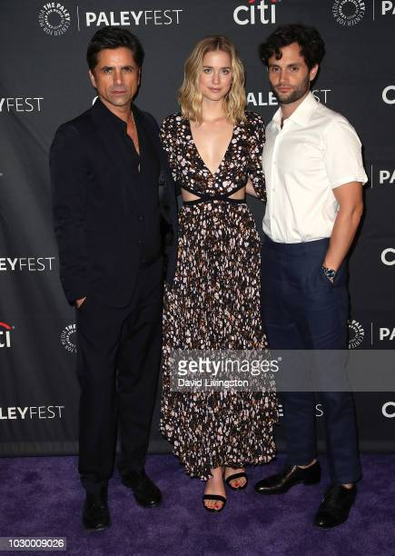 John Stamos Elizabeth Lail and Penn Badgley from YOU attend The Paley Center for Media's 2018 PaleyFest Fall TV Previews Lifetime at The Paley Center...