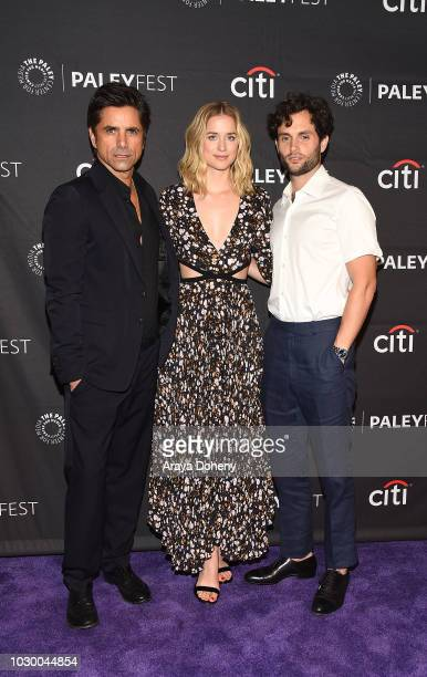 John Stamos Elizabeth Lail and Penn Badgley from 'YOU' attend The Paley Center for Media's 2018 PaleyFest Fall TV Previews Lifetime at The Paley...