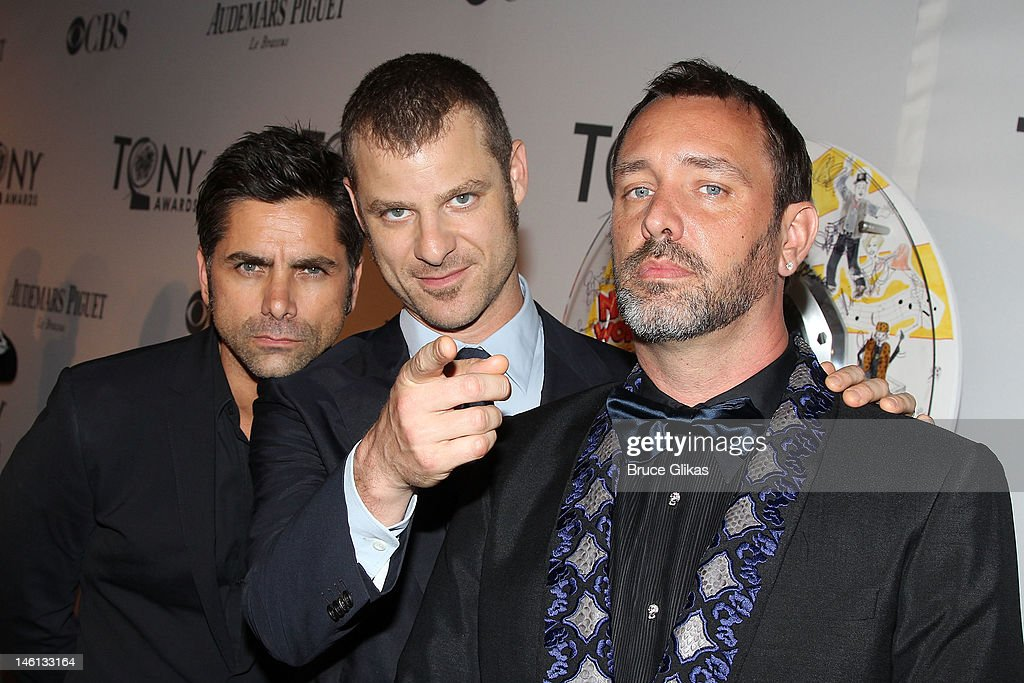 John Stamos, Trey Parker and Matt Stone attend the 66th Annual Tony Awards at the Beacon Theatre on June 10, 2012 in New York City.