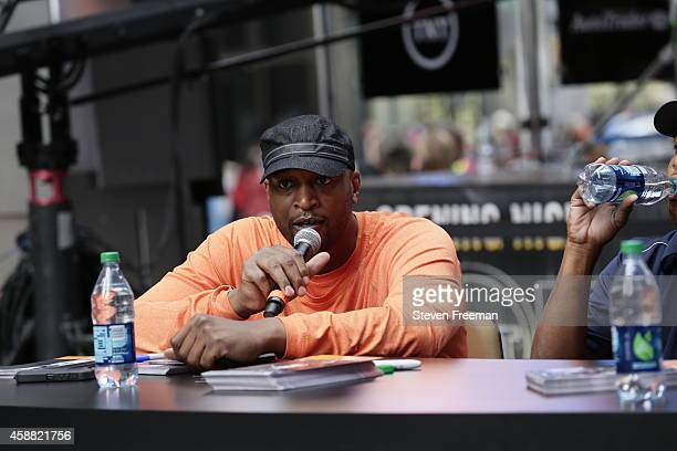 John Starks Larry Johnson and John Wallace of the New York Knicks speak at the TNT tip off event at Times Square Offices on October 27 2014 in New...