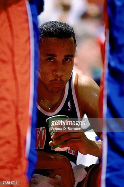 John Starks of the New York Knicks drinks from a gatorade cup during Game Six of the NBA Finals played on June 19 1994 at the Summit in Houston Texas...