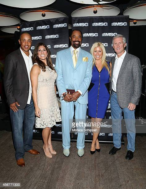 John Starks, Tina Cervasio, Walt Clyde Frazier, Jill Martin and Mike Breen attend MSG Networks' 2014-15 Season Kickoff at Catch Roof on October 6,...