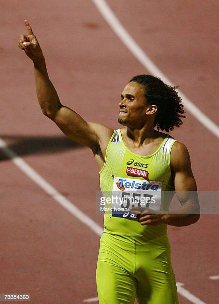 John Steffensen celebrates after winning the Men's 400 metre race during the 2007 Telstra ASeries meeting at Sydney Olympic Park Athletic Centre on...