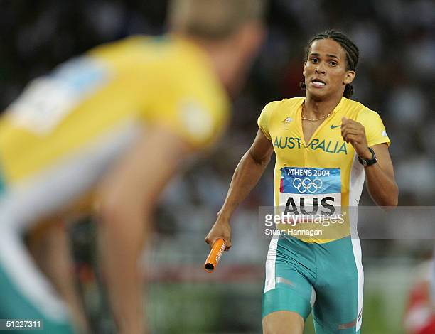 John Steffensen of Australia competes in the men's 4 x 400 metre relay on August 27 2004 during the Athens 2004 Summer Olympic Games at the Olympic...