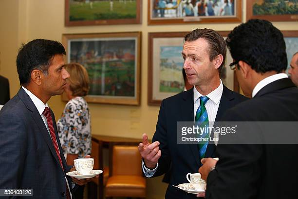 John Stephenson with Rahul Dravid and Anil Kumble during the ICC Cricket Committee Meeting at Lords on June 1 2016 in London England
