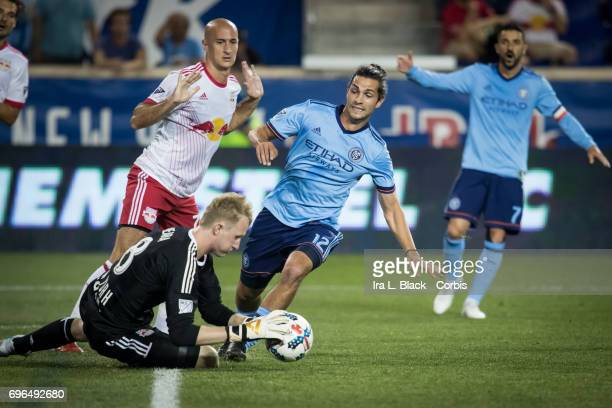 John Stertzer of the New York City FC has his shot on goal go into the hands of goalkeeper Ryan Meara of the New York Red Bulls during the 2017 Hunt...