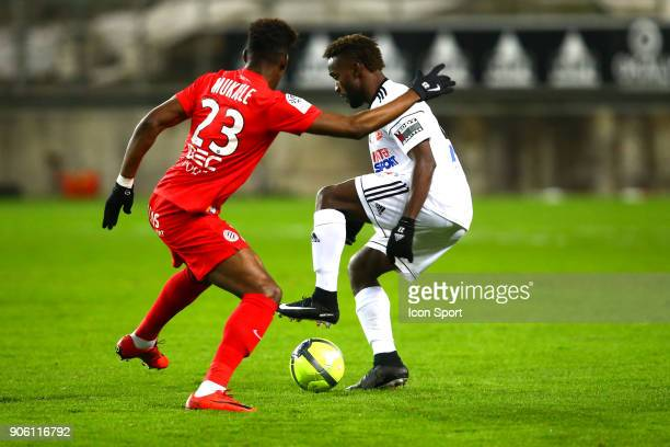 John Steven Mendoza of Amiens during the Ligue 1 match between Amiens SC and Montpellier Herault SC at Stade de la Licorne on January 17 2018 in...