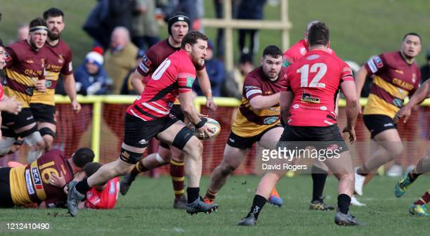 John Stevens of Cornish Pirates breaks with the ball during the Greene King IPA Championship match between Ampthill and Cornish Pirates at Dillingham...