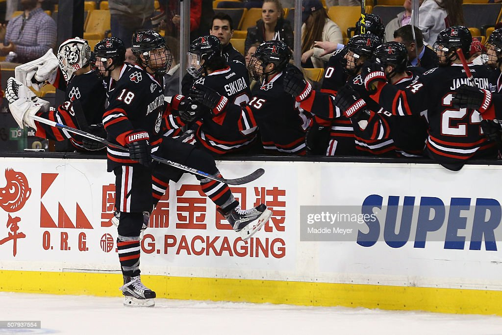 John Stevens #18 of the Northeastern Huskies celebrates after scoring against the Boston University Terriers during the third period at TD Garden on February 1, 2016 in Boston, Massachusetts. The Terriers defeat the Huskies 3-1.