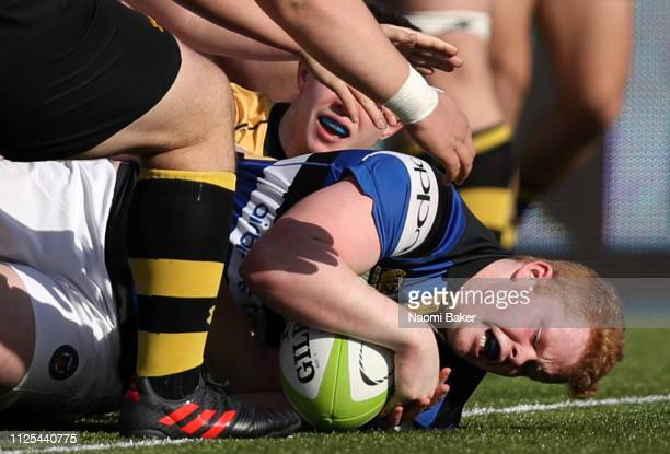 John Stewart of Bath scores a try during the Premiership Rugby U18s Academy Finals Day match between Wasps and Bath at Allianz Park on February 17...