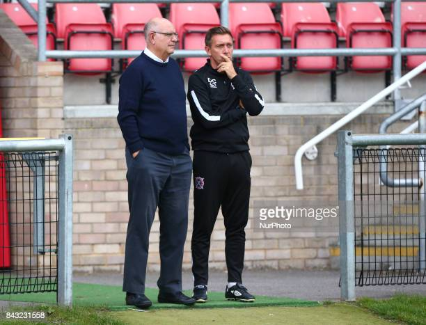 LR John Still manager of Dagenham and Redbridge with Darren Currie first team coach of Dagenham and Redbridge Under 23s during Premier League Cup...