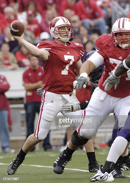 John Stocco during the game between the Wisconsin Badgers and the Western Illinois Leathernecks at Camp Randall Stadium in Madison, Wisconsin on...