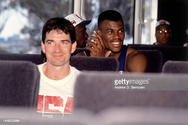 John Stockton and David Robinson of the United States National Team ride the bus to practice in June 1992 in La Jolla California NOTE TO USER User...