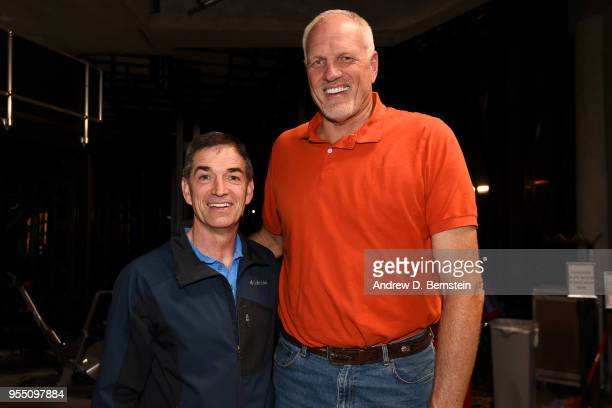 John Stockton and Mark Eaton pose after the game between Utah Jazz and Houston Rockets during Game Three of the Western Conference Semifinals of the...